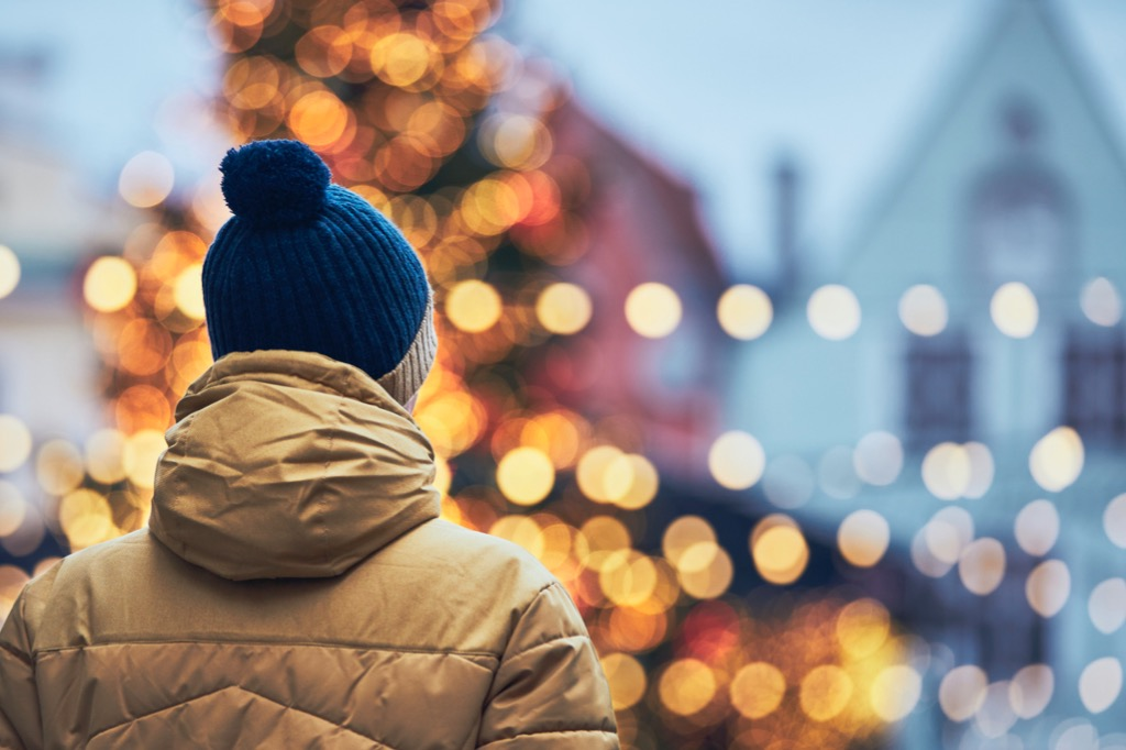 Man in Christmas marketplace